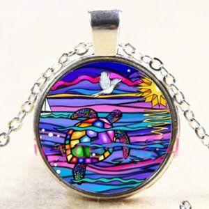 Necklace- NEW- Nautical Ocean Sea Turtle